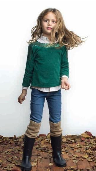 How to wear: black rain boots, blue jeans, white long sleeve shirt, dark green sweater