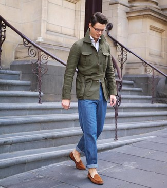 How to wear: tobacco suede loafers, blue jeans, white long sleeve shirt, olive linen field jacket