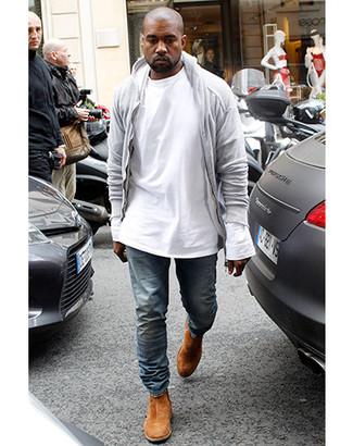 How to wear: tobacco suede chelsea boots, blue jeans, white long sleeve t-shirt, grey hoodie