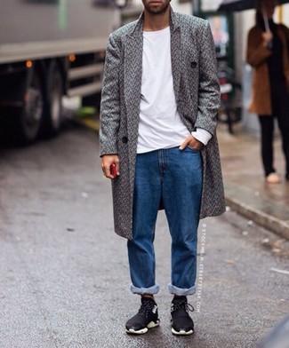 How to wear: black athletic shoes, blue jeans, white long sleeve t-shirt, grey herringbone overcoat