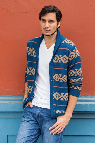 How to wear: blue jeans, white v-neck t-shirt, blue fair isle shawl cardigan