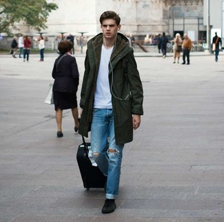 How to wear: black suede high top sneakers, blue ripped jeans, white v-neck t-shirt, olive parka