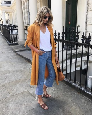 How to Wear Dark Brown Leather Flat Sandals: For a look that's super straightforward but can be flaunted in a great deal of different ways, consider wearing an orange duster coat and blue jeans. Feel uninspired with this getup? Invite a pair of dark brown leather flat sandals to switch things up.