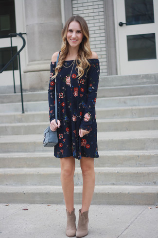 How to wear: blue leather crossbody bag, beige suede ankle boots, navy floral off shoulder dress