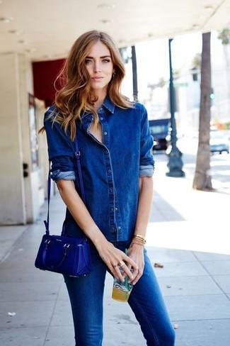 How to wear: blue leather crossbody bag, blue skinny jeans, blue denim shirt