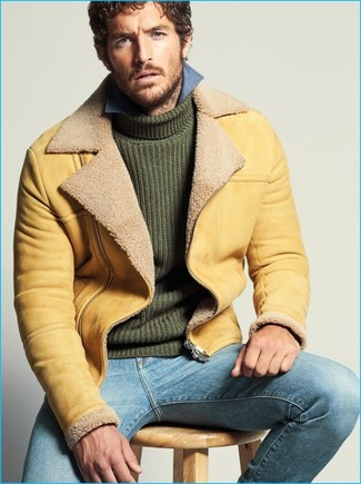 How to wear: light blue jeans, blue chambray long sleeve shirt, dark green knit turtleneck, tan shearling jacket
