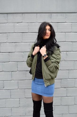How to wear: black tights, blue denim mini skirt, black turtleneck, olive bomber jacket