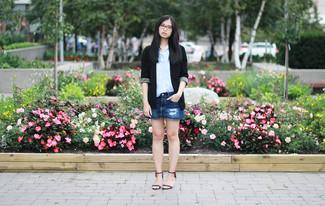 How to wear: black leather flat sandals, blue ripped denim mini skirt, light blue dress shirt, black blazer