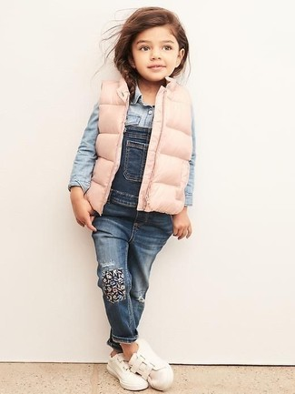How to wear: white sneakers, blue denim overalls, light blue denim long sleeve shirt, pink gilet