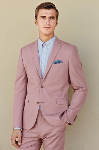How to wear: blue pocket square, light blue dress shirt, pink suit