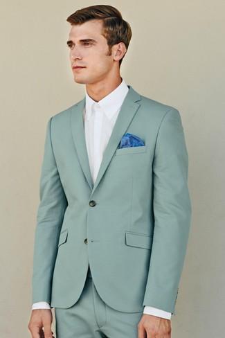 How to wear: blue pocket square, white dress shirt, mint suit
