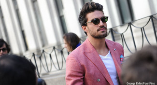 How to wear: dark green sunglasses, blue print pocket square, white v-neck t-shirt, red double breasted blazer