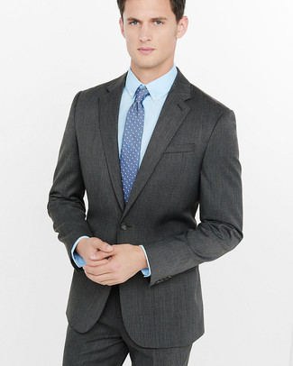 How to wear: blue polka dot tie, light blue dress shirt, charcoal suit