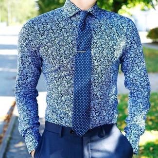 How to wear: blue print tie, blue dress pants, blue floral dress shirt