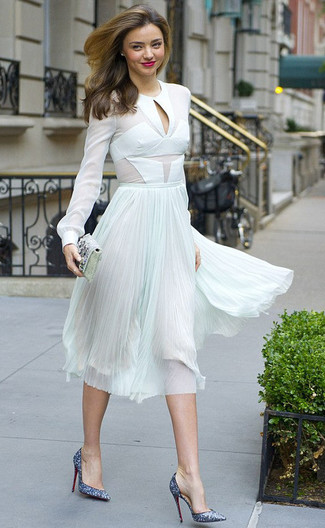 How to wear: silver embellished clutch, blue sequin pumps, mint pleated chiffon midi skirt, white chiffon long sleeve blouse