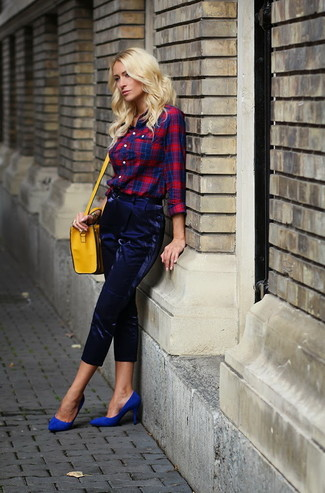 How to wear: yellow leather crossbody bag, blue suede pumps, navy tapered pants, red and navy plaid dress shirt
