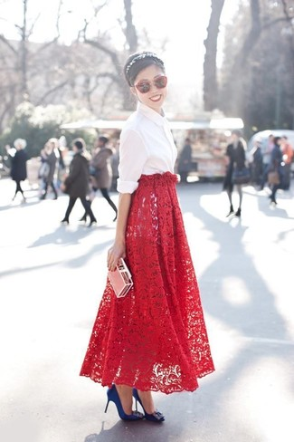 How to wear: red sunglasses, blue embellished satin pumps, red lace maxi skirt, white dress shirt