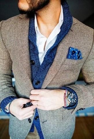 How to wear: blue shawl cardigan, brown herringbone blazer, white long sleeve shirt, blue polka dot pocket square