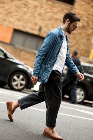How to wear: blue denim shirt jacket, white polo, charcoal jeans, tan leather loafers