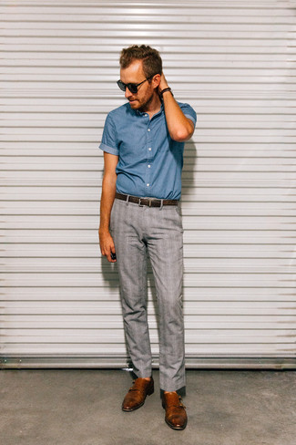 Men's Blue Chambray Short Sleeve Shirt, Grey Plaid Dress Pants, Brown Leather Double Monks, Dark Brown Leather Belt