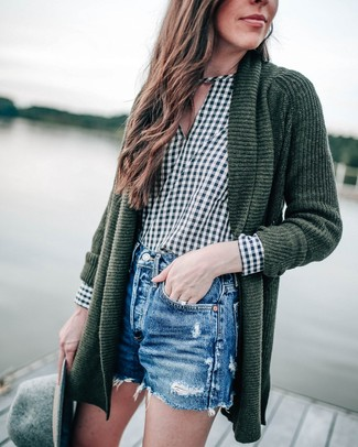 How to wear: grey wool hat, blue ripped denim shorts, dark green gingham long sleeve blouse, dark green knit open cardigan