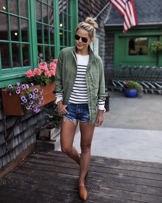 How to wear: brown leather loafers, blue denim shorts, white and black horizontal striped crew-neck sweater, olive anorak