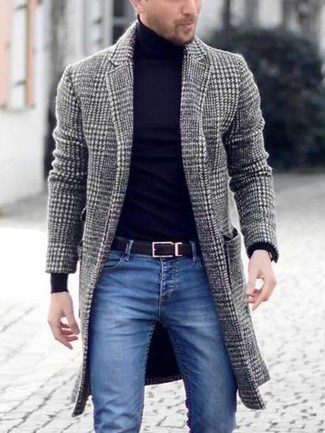 How to wear: black leather belt, blue skinny jeans, black turtleneck, grey houndstooth overcoat