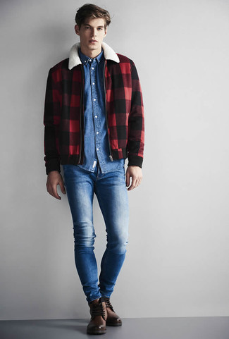 How to wear: brown leather casual boots, blue skinny jeans, blue denim shirt, red and black check harrington jacket