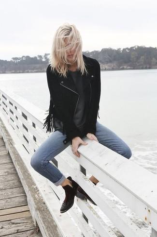 How to wear: black suede ankle boots, blue skinny jeans, charcoal crew-neck t-shirt, black fringe suede biker jacket
