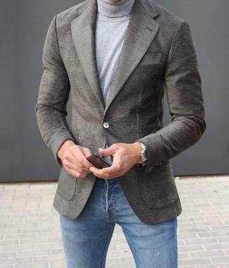 How to wear: silver watch, blue skinny jeans, grey turtleneck, grey wool blazer