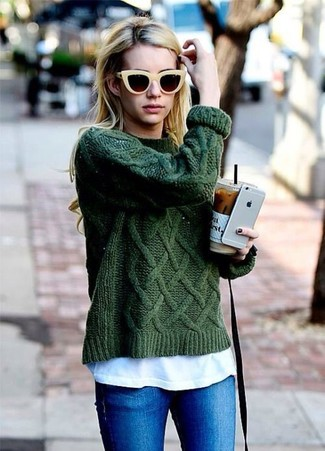 How to wear: yellow sunglasses, blue skinny jeans, white crew-neck t-shirt, dark green cable sweater