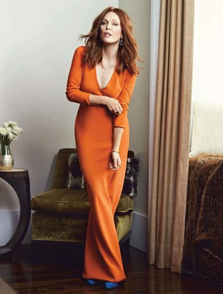 How to wear: blue suede pumps, orange maxi dress