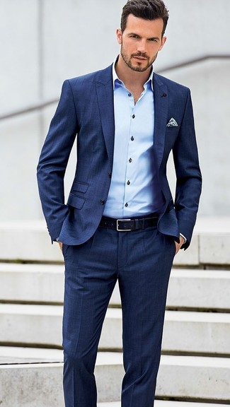 How to wear: blue suit, light blue dress shirt, white and navy polka dot pocket square, navy leather belt