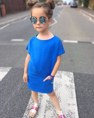 How to wear: blue sunglasses, white sandals, blue dress