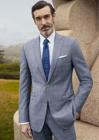 How to wear: white pocket square, blue paisley tie, white dress shirt, grey plaid suit