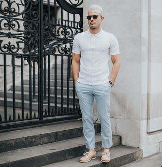 How to wear: black sunglasses, tan leather boat shoes, light blue chinos, white polo