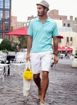 How to wear: grey hat, beige leather boat shoes, white shorts, mint polo