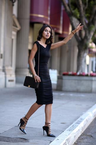 How to wear: black bodycon dress, black leather gladiator sandals, black leather crossbody bag, silver bracelet