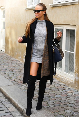 How to wear: black suede over the knee boots, grey wool bodycon dress, brown open cardigan, black coat
