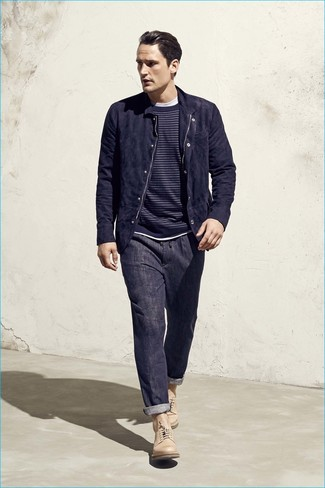 How to wear: navy suede bomber jacket, navy horizontal striped crew-neck sweater, white crew-neck t-shirt, navy jeans
