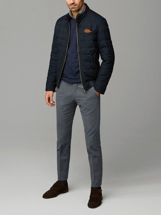 How to wear: black quilted bomber jacket, navy crew-neck sweater, grey denim shirt, grey wool dress pants