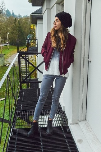 Women's Burgundy Bomber Jacket, White Fluffy Crew-neck Sweater, Grey Skinny Jeans, Black Chunky Leather Ankle Boots