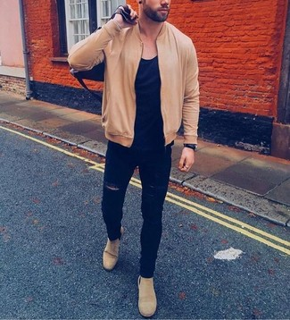 How to wear: tan bomber jacket, black crew-neck t-shirt, black ripped skinny jeans, beige suede chelsea boots