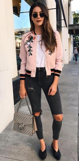 How to wear: pink embroidered bomber jacket, white crew-neck t-shirt, black ripped skinny jeans, black leather mules