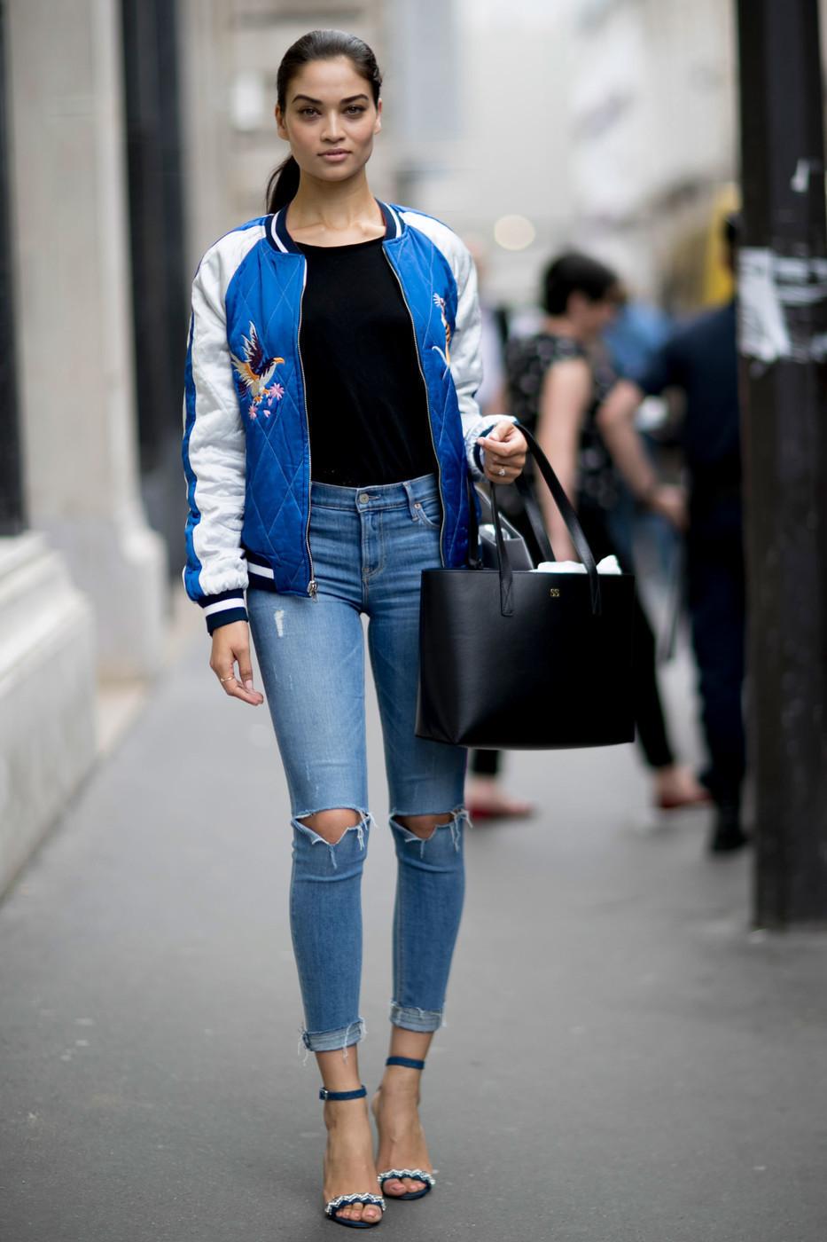 Blue Bomber Jacket | Women's Fashion