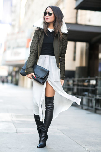 How to wear: olive quilted bomber jacket, black cropped sweater, white silk shirtdress, black leather over the knee boots