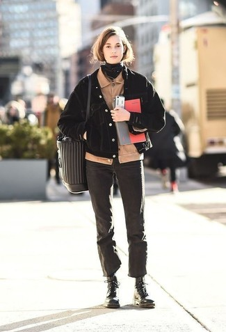 How to wear: beige corduroy bomber jacket, black denim jacket, black jeans, black leather lace-up flat boots