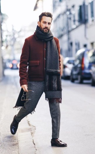 How to wear: tobacco wool bomber jacket, grey wool dress pants, dark brown leather loafers, charcoal scarf