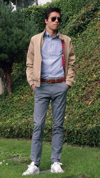 How to wear: beige bomber jacket, grey dress shirt, grey chinos, white leather low top sneakers