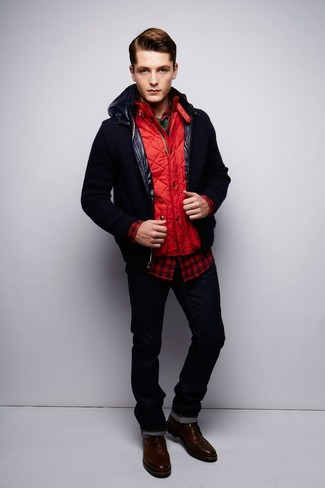 How to wear: black bomber jacket, red quilted gilet, red and black gingham long sleeve shirt, green crew-neck t-shirt